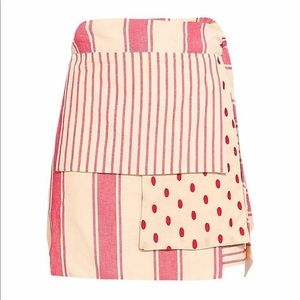 Dodo Bar Or Patchwork Cotton Mini Wrap Skirt